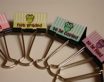 TEACHER ORGANIZERS Binder Clips OWLS