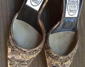 Grey velvet Emma Hope slip on shoes