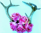 Nature, Antlers,Vintage, Pink Roses, Light Blue, Dreamy, Fragile,  Inspired  by Paper-Mâché Dream Photography