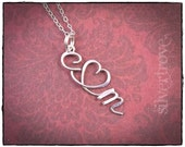 Lover's Pendant Sterling Silver Personalized Calligraphy Script Initial Heart Initial Pendant Necklace with Chain Wire Jewelry SilverTrove