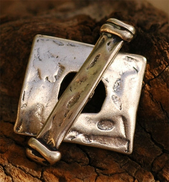 Square Toggle in Sterling Silver, Organic Rugged Clasp, PS14