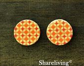 Buy 1 Get 1 Free - Orange Star Wood Cabochon, Wooden Button,12mm 15mm 20mm  Round Handmade Photo Wood Cut Cabochon  -- HWC029B
