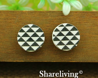 Buy 1 Get 1 Free - Geometric Wood Cabochon, Wooden Button,12mm 15mm 20mm  Round Handmade Photo Wood Cut Cabochon -- HWC024P