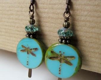 Dragonflies - Teal Czech Glass Dragonfly Beaded Niobium Earrings