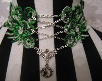 Handmade Varigated Green Embroidered Lace Corset Choker with Tibetan Silver Art Nouveau Pendant