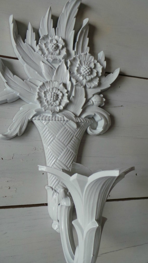 Items similar to Candle holder, vintage wall sconce, antique tulip flower, white wall candle ...