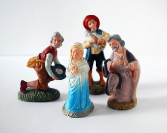 Christmas Nativity Set, Vintage Chalkware Statues, Japanese Figurines, Mary Joseph Creche Figures, Holiday Decor, Christmas Decorations