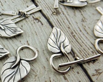 LARGE LEAF, Philodendron Two Piece Clasp Sets Qty 1 Silver Plated Pewter,Gorgeous Natural Leaf Toggle Set, JBB, Jewelry Clasps
