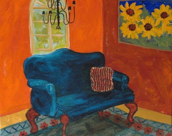 "Original painting ""The Blue Sofa"" 20 x 20 inches acrylic on canvas"