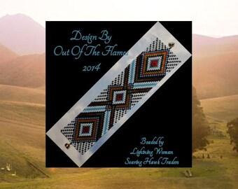 Bead PATTERN Agowatiha Cuff Bracelet Loom Square Stitch