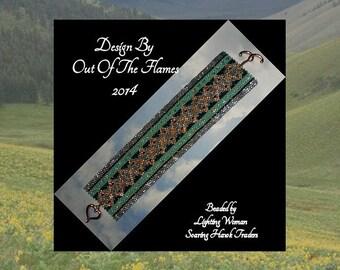Bead PATTERN Copper Topper Cuff Bracelet Peyote Brick Stitch