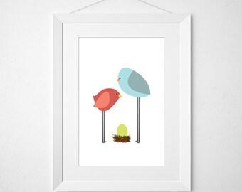 birdie parents  - nursery art print