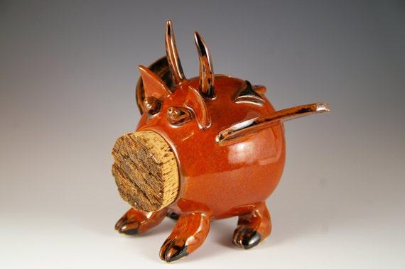 Pottery Piggy Bank Red Flying Devil Pig