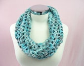 COWL SCARF Infinity Crochet Blue Teal Turquoise Gray Grey Neck Warmer Crochet Womens Girls