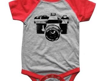 Oh Snap Camera BABY Bodysuit Raglan one piece shirt creeper Baseball jersey screenprint