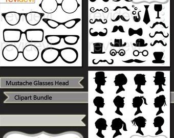 Mustache Glasses Head Silhouette clip art bundle, digital clipart, digital images, commercial use