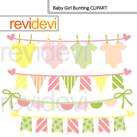 Items similar to Baby girl bunting digital clipart ...