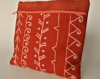Native American Print Purse Organizer , Rust Women Wallet , Cosmetic Pouch , Make Up Storage Bag , Clutch Purse