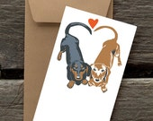 Dachshunds in Love -- 8 Blank flat cards and envelopes