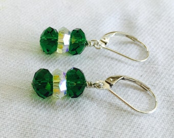 Fern Green and Iridescent Crystal Stacked Drop Earrings