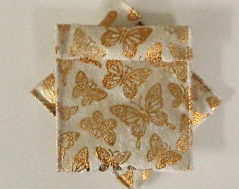 Jewelry Bead Pouches - 6 Butterfly Gold 4 x 3 1/2