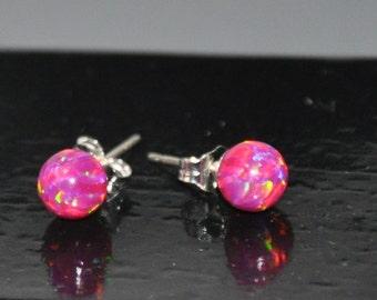 Purple Red Opal Earrings, 6mm Ball Stud Post earrings, Opal Earrings, Sterling Silver, Australian Opal, 925 Sterling Silver, Opal Jewelry