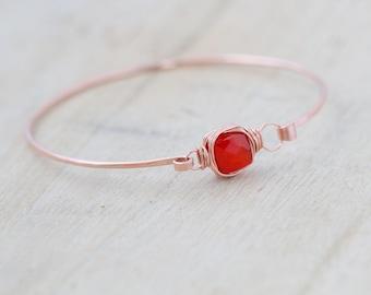 Carnelian Rose Gold Bracelet , Bezel Wrapped Stacking Gemstone Bangle , 14K Gold Filled , Rose , Sterling Silver , Tangerine Orange