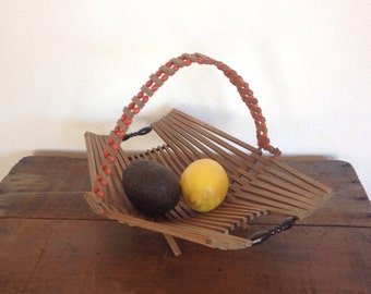 Mid Century Folding Wood Basket, Beaded handle and Trim Vintage Basket