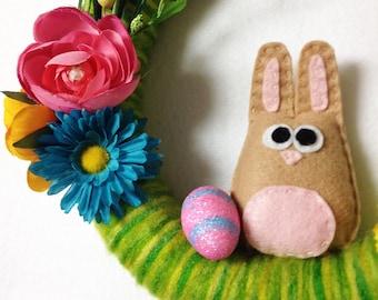 Spring Wreath, Easter Wreath, Rabbit Wreath, Bunnies Lay Eggs - Easter Egg Wreath, Felt Animal, Bunny