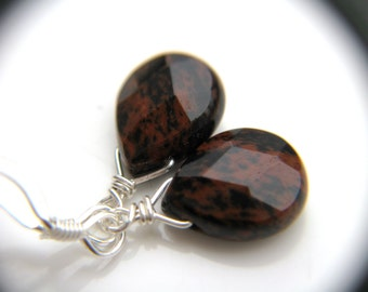 Black and Red Earrings Wire Wrapped . Mahogany Obsidian Earrings . Small Drop Earrings . Earthy Jewelry - Andromeda Collection