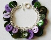 Button Charm Bracelet Dusky Purple and Moss Green