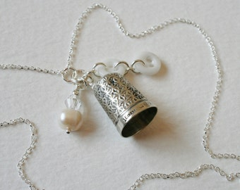 Victorian Silver Thimble Charm Necklace Milk Glass Buttons Crystal and Pearl Charm
