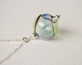 Vintage Hand Blown Glass Bead Sterling Silver Charm Necklace