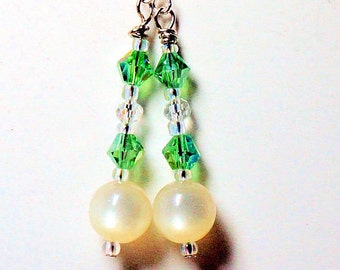 Moonstone Pearl and Green Crystal Earrings, Sterling Silver French Wires, Ladies Crystal Jewelry