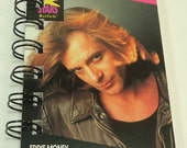 Eddie Money Trading Card #209 Repurposed, Recycled, Upcycled Into A Spiral Bound Notebook