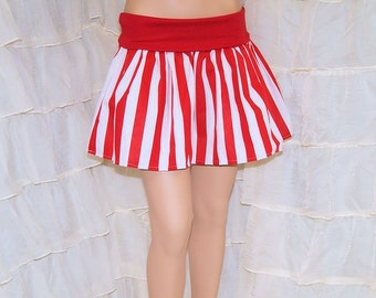 Red and White Stripe Twirl Skirt ALL SIZES Toddler to Adult- MTCoffinz