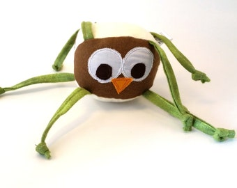Owl stuffed animal baby toy with knotted strings, brown, green, personalization available, soft lovey, unique handmade toddler toy, woodland