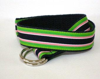 Ribbon Belt for Boys Toddlers Girls Striped D-ring Webbing Belt / Preppy Canvas Belt - Green Blue Pink on Navy