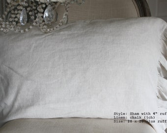 Linen Pillow Sham with Ruffle