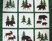 "Quilt blocks, Squares, Appliqued, Ready to outline stitch, DIY, NINE 8"" blocks, Northwoods set,  cotton, forest, evergreens, moose, bear"