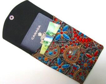 PASSPORT CASE, passport cover, travel wallet, snap closure, two pocket,  optional adjustable cord, Arizona jewels