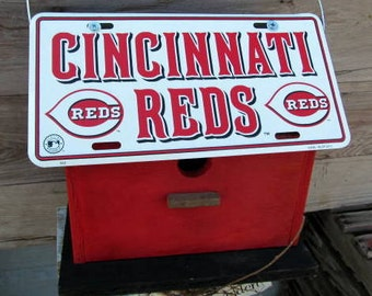 Cincinatti Reds License Plate Baseball Birdhouse Red Fully Functional MLB
