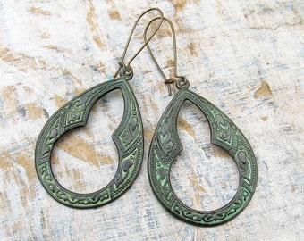 Bohemian earrings Moroccan ethnic dangle earrings Patina hoop earrings Boho bohemian jewelry
