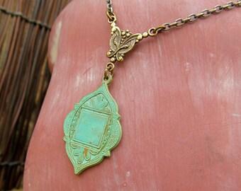 Moroccan necklace, Mint turquoise bohemian necklace Patina Boho Jewelry, Bohemian jewelry