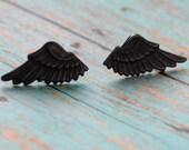 Black Wing Studs, Angel Wings Studs, Steampunk Wing Earrings, Winged Jewelry, Unisex Earrings, Surgical Steel Stud Earrings, SRAJD