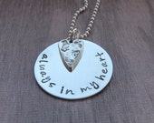 Always in my heart necklace, Memorial Gift, Sympathy Gift, Personalized Jewelry, Hand Stamped Jewelry Sterling Silver