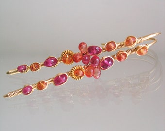 Orange Sapphire 14k Gold Filled Linear Wire Wrapped Earrings with Pink Rubies