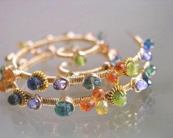 Beach Glass Gold Filled Spiral Earrings, Wire Wrapped Tanzanite Spirals, Sapphire, Vesuvianite Nautilus, Signature Original, Made to Order