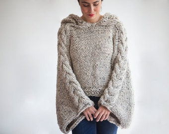 Tweed Beige Angel Sweater Capalet with Hoodie - Over Size Plus Size Tweed Beige Cable Knit by Afra