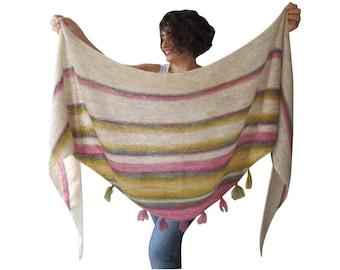 NEW! Mohair Shawl - Triangle Shawl with Fringe by Afra